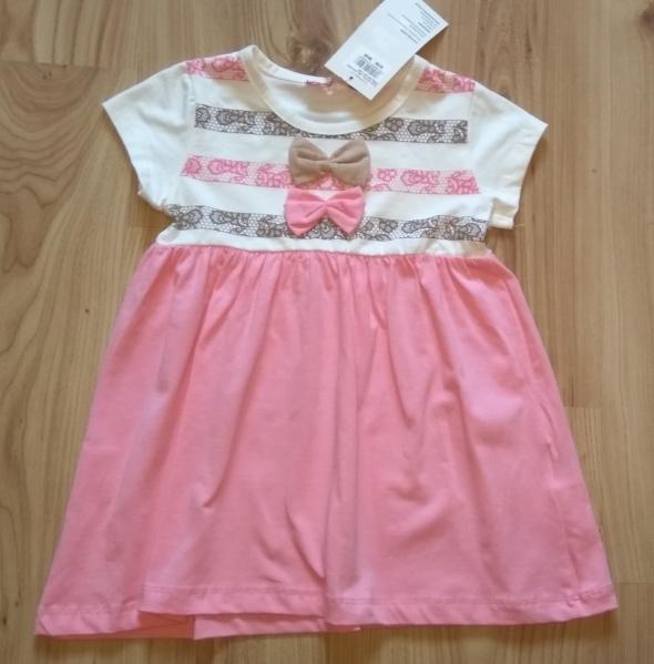 ed74a48c98 Sukienki i spódniczki Nowa dziewczęca sukienka dla dziewczynki różowa z  kokardkami 92