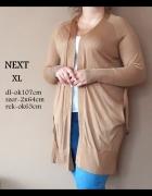 Klasyczny beżowy kardigan dłuższy marka NEXT rozmiar XL zdecydo...