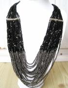 czarny szary naszyjnik elegancki koraliki