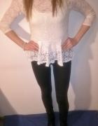 Biała koronkowa bluzka baskinka Amisu