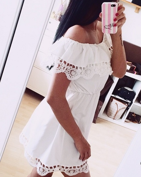 4feeb5c5 Letnia ażurowa sukienka mini biała lub czarna w Suknie i sukienki ...