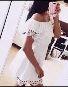 Letnia ażurowa sukienka mini biała lub czarna