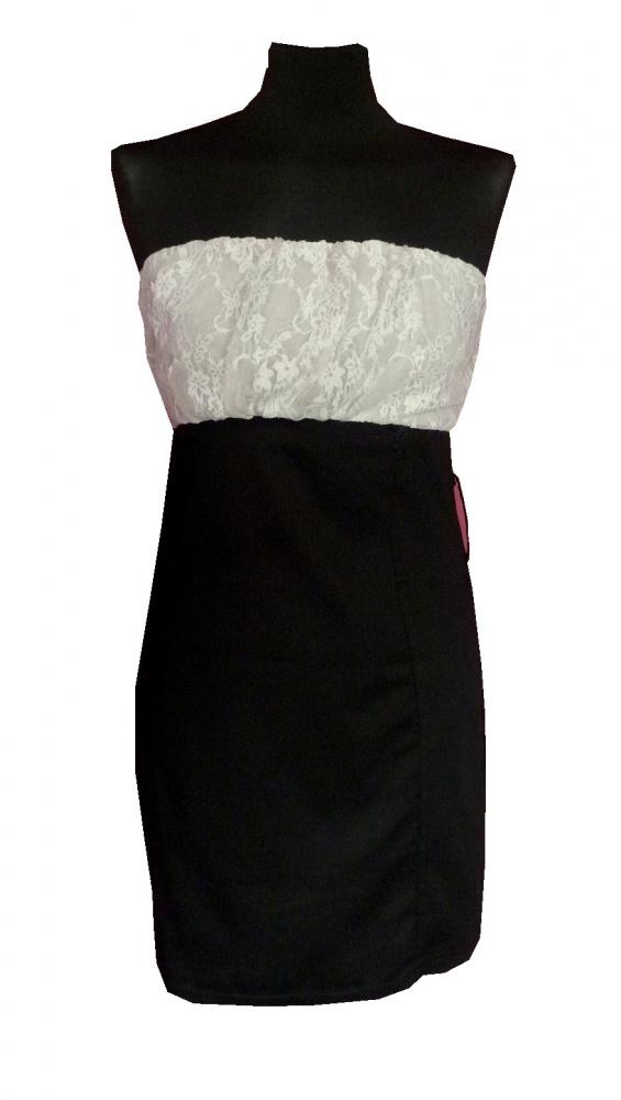Sukienka tuba ołówkowa dopasowana z koronką M