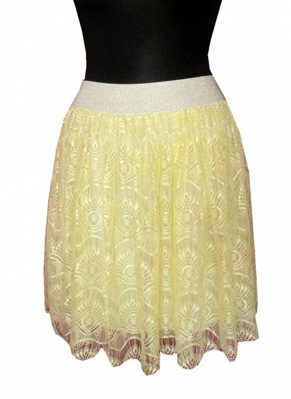 Koronkowa spódnica cytryna pastel na złotej gumie