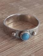Warmet srebrny pierścionek obrączka z tyrkusem sygn