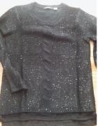 czarny sweter cekiny warkocz...