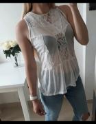 Atmosphere bluzka elegancka mgiełka koronka biała XL