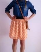 Spódnica w grochy pomarańcz neon XS S