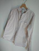 Koszula mgiełka H&M paski pudrowy róż...