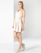 sukienka pudrowy róż mohito perełki M