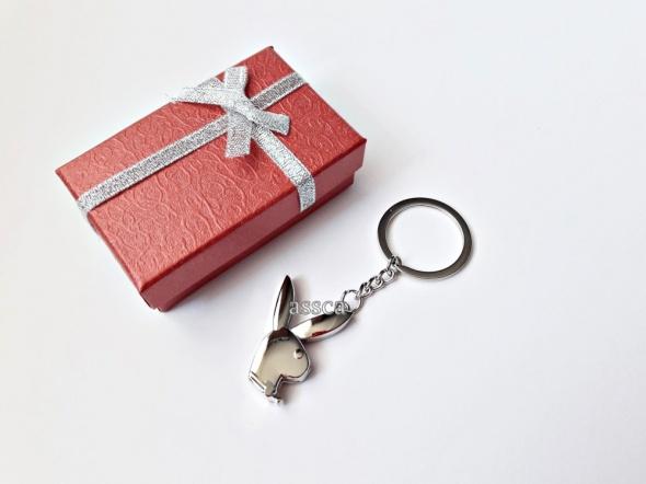 PLAYBOY brelok do kluczy króliczek pudełko srebrny