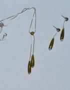 komplet biżuterii zielone łezki