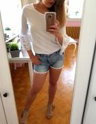 jeansowe spodenki koronko szorty shorty XS 34