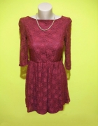 sukienka koronkowa czarwona bordowa z rękawem