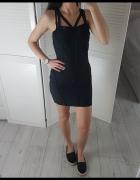 Missguided mała czarna dopasowana sukienka mini 38 M dżety z paskami na dekolcie krzyżowane
