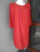 Sukienka Zara Ruda Cętki Fioletowe Pudełkowa Impreza Wesele XL