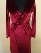 Sukienka aksamitna welurowa kopertowa asymetryczna