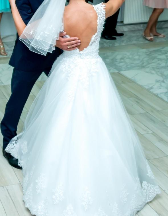 721a2cf0b9 Znany suknia ślubna gipiura na kole piękny dekold M 38 w Suknie ślubne  XS-
