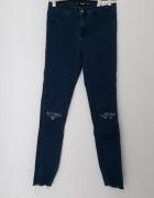 Jeansy Zara dziury na kolanach wysoki stan ciemny niebieski spo...