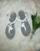 białe sandały japonki basamo marynarski styl...