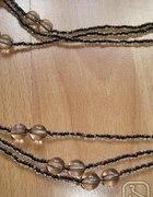 Długie korale 3 sznurki popielate