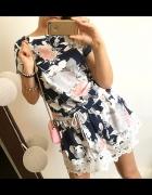 Sukienka Damska w kwiaty koronka M