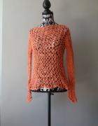 Idealny ceglasty ażurowy sweterek...