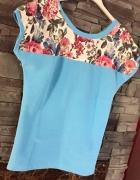 Błekitna bluzka w kwiaty nowa exclusive roz s m