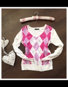 Francuski sweterek krata róż biel uniwersalny