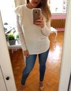 Biała bluzka H&M falbanki M 38