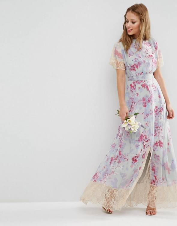 Asos maxi sukienka pastelowa zwiewna z koronką