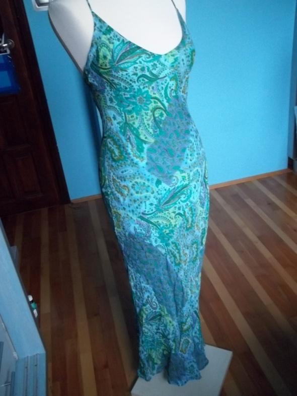 Niebieskozielona sukienka indie maksi...