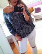 Szary sweter oversize ramię nietoperz XL 42