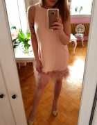 Morelowa sukienka pióra lata 20
