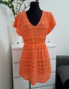 pomaranczowa azurowa sukienka My Collection