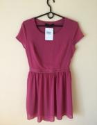 Różowa sukienka M wycięcia z tylu