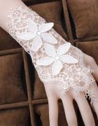 Piękne RĘKAWICZKI Ślubne zapinane haft BIAŁE NOWE