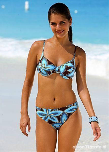 strój bikini niebiesko brązowy wzór