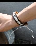 skórzana bransoletka ze sznurkiem