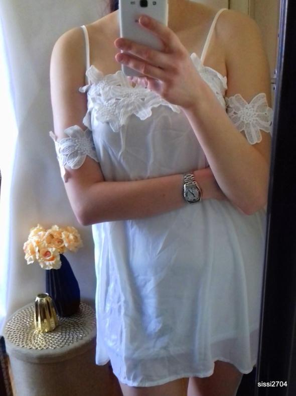 Biała bluzka top tunika ażur koronka 42