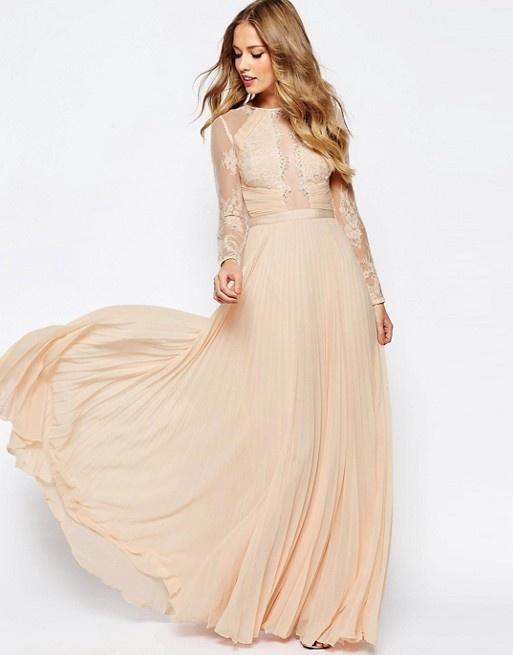 52c6d015cb Suknie i sukienki Asos maxi plisowana koronkowa suknia nude pudrowa