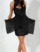 Piękna czarna sukienka zdobiona szyfonem S 36