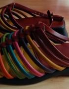 Sandałki rzymianki gladiatorki kolorowe paski idealne na lato 3...