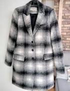 Zara płaszcz wełniany S 36 szary kratka oversize