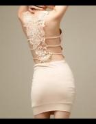sukienka mni beżowa koronkowe plecy r S...