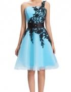 Błękitna lazurowa sukienka tiul gipiura