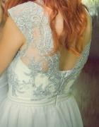 Biało szara sukienka tiul i koronka...