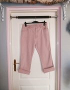 Pudrowo różowe spodnie z wysokim stanem 44 46