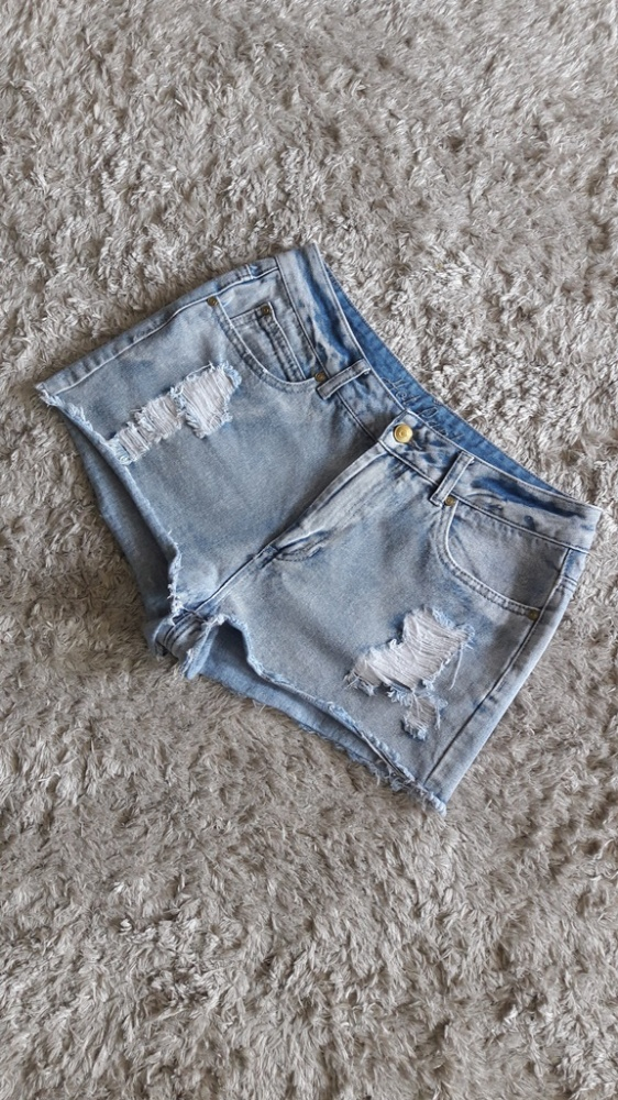 Krótkie spodenki jeansowe szorty przetarcia dziury wysoki stan ...