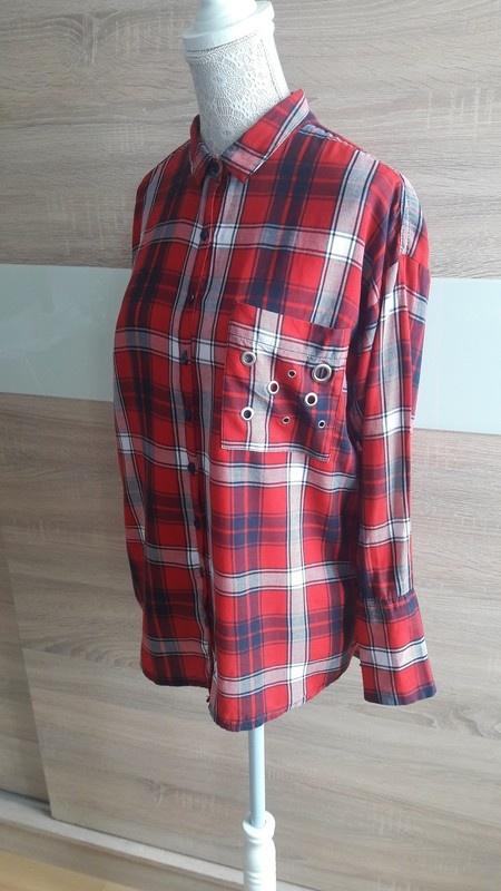 Koszula w kratę z eyeletami 38 Nowa...